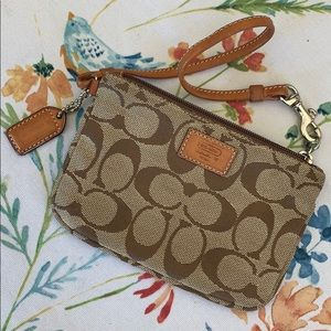 Coach Patterned Brown Wristlet - Brand New!